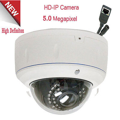 5.0MP 2592x1920P Outdoor PoE IP Security Camera IP66 2.8-12mm Lens Dome 30LEDs