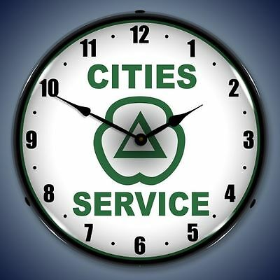 New old style Cities Service LIGHT UP clock more Citgo Gulf Texaco Sunoco clocks