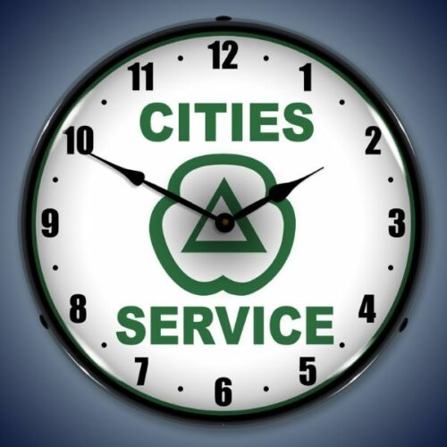 New old style Cities Service LIGHT UP clock more Citgo Gulf Texaco Sunoco clocks