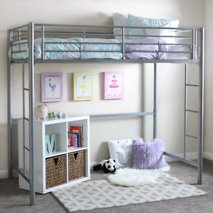 Grey metal loft bed