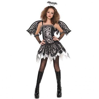 158 Mädchen Kinder gefallener Engel Kostüm Karneval neu (Mädchen Gefallener Engel Kostüm)