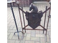 Vintage cast iron fire guard + Wrought Iron Candle Holder