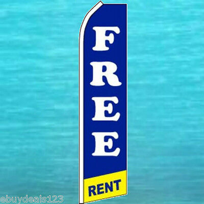 FREE RENT FLUTTER FLAG Real Estate Advertising Sign Feather Swooper Banner 1829 Free Rent Banner