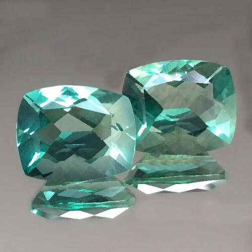 8.96cts 11x9mm Nice Cushion Pair Green Natural Fluorite Loose Genuine Gemstones