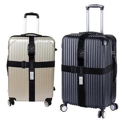 Schwarz TSA Schloß Kofferband Kreuz Gepäckgurt Reise Luggage Straps (Tsa Gepäckgurt)