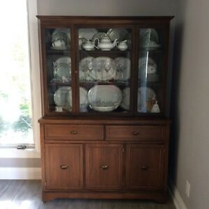 Walnut Display China Cabinet