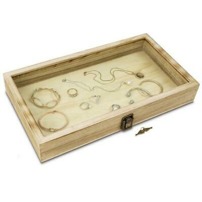 Wooden Jewelry Display Case With Glass Top Lid With Key Lock Oak Color