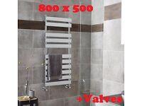 Brand New 11 Panel (6+3+2) Chrome high quality towel radiator 800 x 500