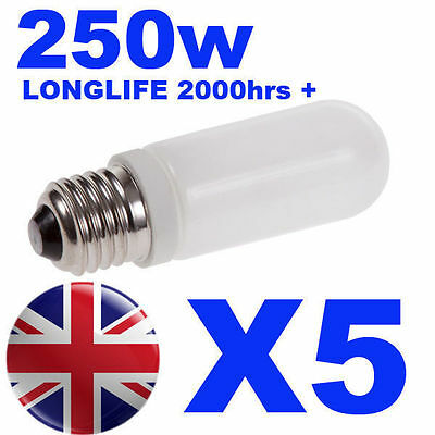 5x Halogen Long Life Modelling Bulb / Lamp / Light 250w for Bowens / Elinchrom