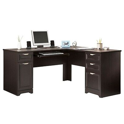 NEW L-Shaped Office DESK (Computer Executive Corner Wood Table Black) FREE S&H  L-shaped Office Table