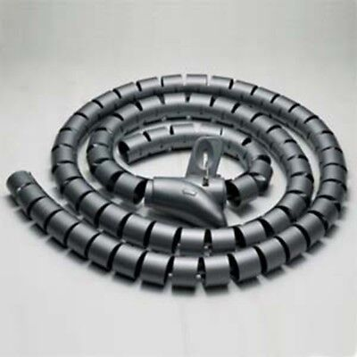1 5M 20Mm Black Spiral Wrapping Bands Cable Tidy Wrap Management Organizer Tube