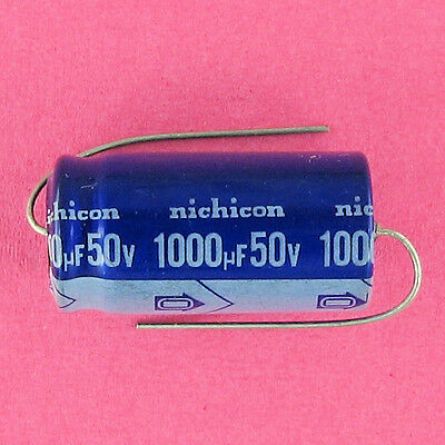 Nichicon 1000uf 50v Electrolytic Cap 85c Pre-tested Axial Lead Ufd Mfd Volt New