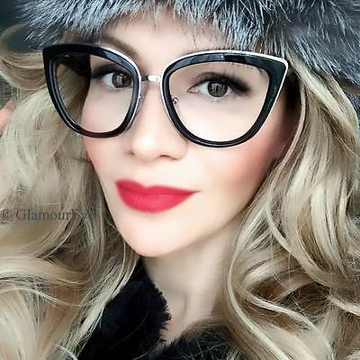 Sexy Secretary Cat Eye Metal Tips My HOT Girl Big Large Eyeglasses Frames 30199