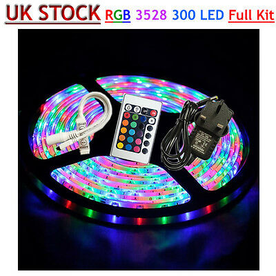 Waterproof 5M 300 LED 3528 RGB SMD Strip Light 12V + Remote Controller + Adapter