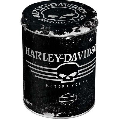 * Vintage Harley Davidson Motorcycle Can Tin Box Blechdose Skull Biker *006-D