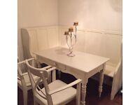 Antique Cream Church Pew, Antique Farmhouse Table + 2 Carver Chairs