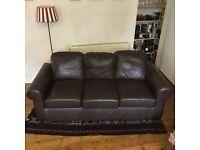Brown leather Ikea Ektorp sofa