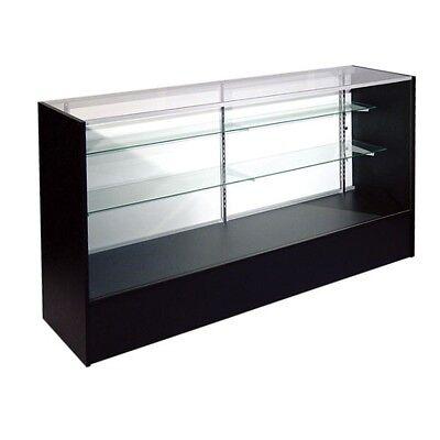 - ITEM#SC6B RETAIL GLASS DISPLAY CASE FULL VISION BLACK SHOWCASE WILL SHIP