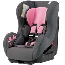 Pink and grey car seat butterflies