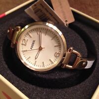 """New Women's """"Georgia"""" Fossil Gold and White Leather Watch"""