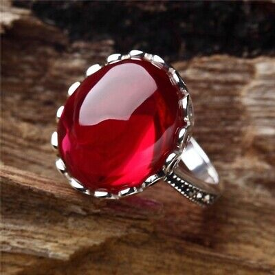 Elegant Oval Red Ruby Halo Wedding Ring Gorgeous 925 Silver Engagement Jewelry](Red Wedding Ring)
