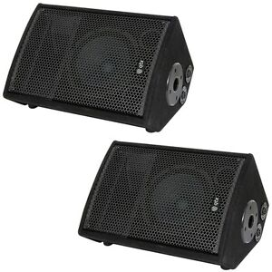 QTX QT8M DJ Disco PA Wedge Monitor Band Stage Passive Monitor Speakers PAIR