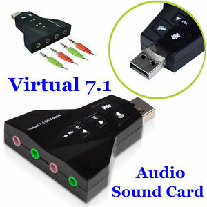 New Virtual 7.1 Channel USB 3D Audio Sound Card Adapter w/ Mic