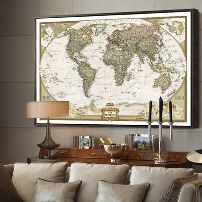 "(The old World Map large Vintage Style Retro Paper Poster Home decor  (27""*20""))"