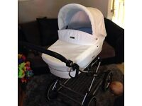 BabyStyle 3-in-1 White Leatherette Prince Pram