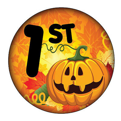 Set of Three HALLOWEEN COSTUME PRIZE Buttons 1st, 2nd and 3rd Prize pinback 3