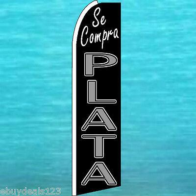 Se Compra Plata Swooper Flag We Buy Silver Banner Sign Flutter Wind Feather