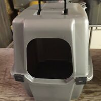 4x glossy silver grey large hooded litter boxes