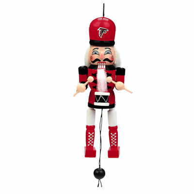 Atlanta Falcons Christmas Tree Holiday Ornament - Pull String Wooden Nutcracker ()