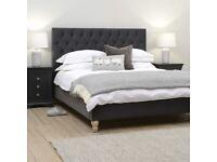 Evesham 6ft Super Kingsize Bed - Soft Velvet - Iron