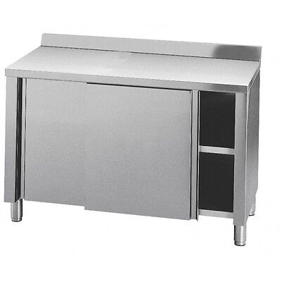 TABLE CABINET STAINLESS STEEL, 2 PORTS SLIDING, with backsplash 100x70x85h