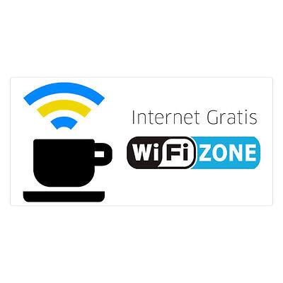 ⭐⭐ Pegatina para pegar sobre cristal Zona WiFi Internet Gratis Comercios Tiendas