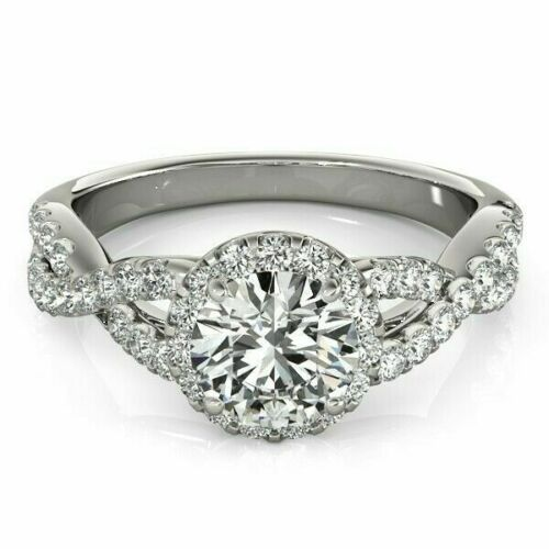 1.30 Carat F/SI1 GIA Round Diamond Halo Infinity Engagement Ring 14K White Gold