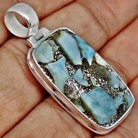 17.80cts NATURAL BLUE COPPER LARIMAR GEMSTONE 925 SILVER PENDANT