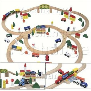 103 pc WOODEN TRAIN CITY SET fits FREE THOMAS brio chuggington NEW 100 + 3