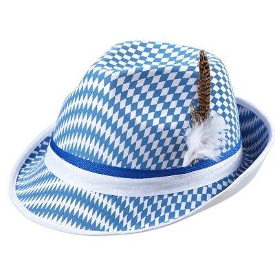 bayrischer TRACHTEN TIROLER HUT mit Feder Fedora Bayern - Weißer Fedora Hut