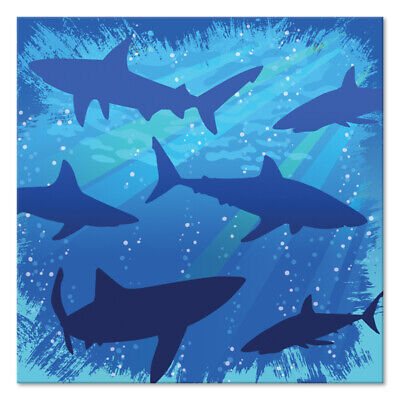 Shark Splash Shark  Birthday Party Supplies Small Napkins (Shark Supplies)
