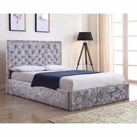 Super Stylish Crushed Velvet Bed with Ottoman Storage . DONT LIKE IT MONEY BACK GUARANTEE !