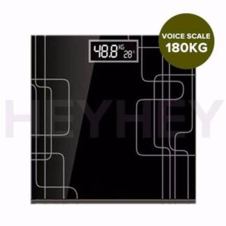 180kg Electric Talking Scale Weight Fitness Glass Bathroom Scale