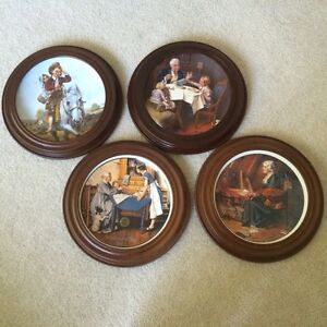 Set of Norman Rockwell framed plates