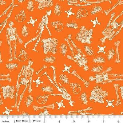 Eek Boo Shriek Halloween Skeletons and Bones Orange Cotton Fabric Fat Quarter - Fat Skeleton Halloween