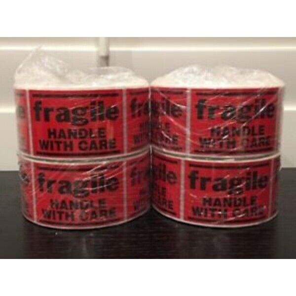 """2000 2x3"""" **FRAGILE--Handle With Care** Sticker (4-Rolls 500 Labels)"""