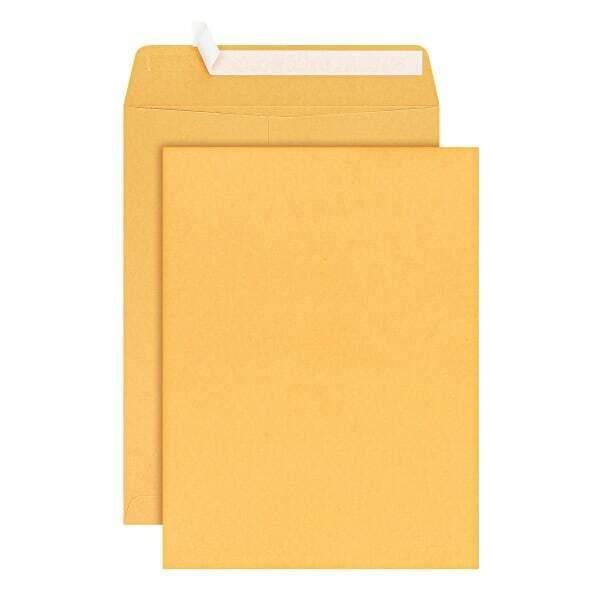 "Office Depot Brand Clean Seal Catalog Envelopes, 9"" x 12"", Brown Kraft, Pack O"