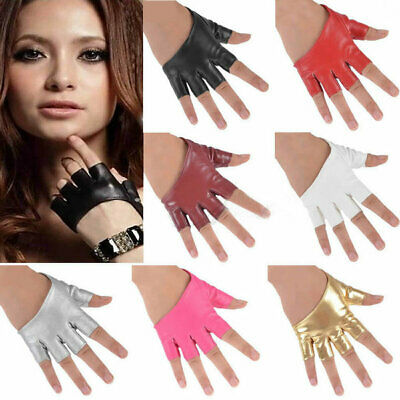 Womens Leather Gloves Short Half Fingerless Dance Stage Driv