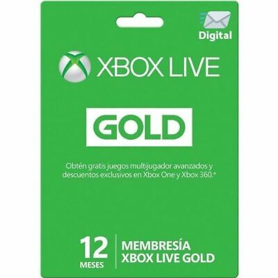 SuscripciónXbox Live Gold 1 año Xbox One Xbox 360 Código Digital 12...