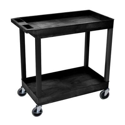Tool Storage Utility Cart Ergonomic Push Handle 2-tub Plastic Shelves Legs Black